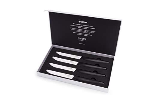 Kyocera Zirconia Material Steak Knives, 4 Piece, White/Black