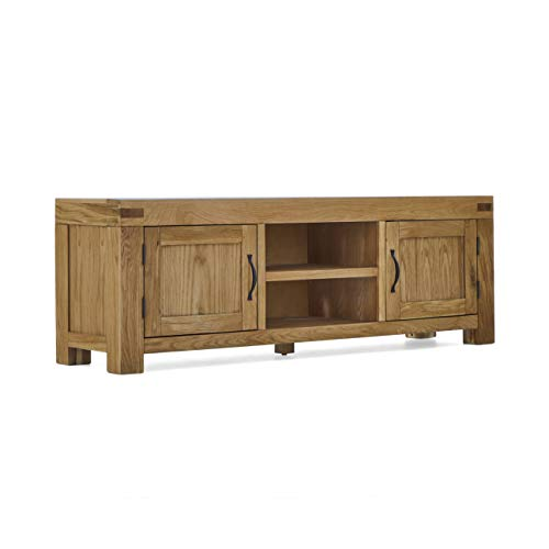 Abbey Grande 160cm Large Oak TV Cabinet Unit for Living Room | Roseland Furniture Traditional Rustic Solid Wood Television Stand Media Centre for Lounge or Bedroom | Fully Assembled