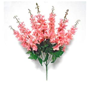 Artificial Silk Flowers Salmon Delphinium Bush 22″ Bouquet Get 7 Stems MG019