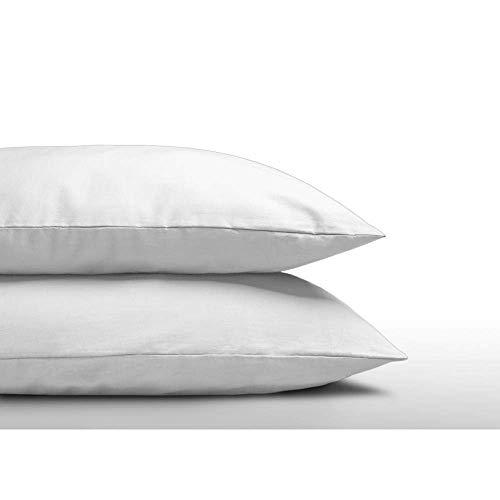 SLEEP TIME 2er Set Kissenbezüge 60cm x 70cm Weiß, Kissenbezug 60x70 Doppelpack, Baumwolle, Weiß