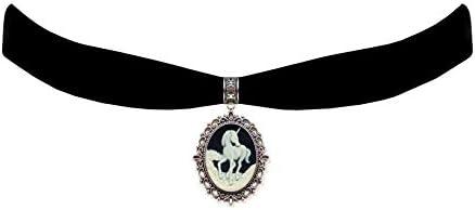 Victorian Vault Black Velvet Choker Unicorn Gothic Steampunk Pendant Necklace product image