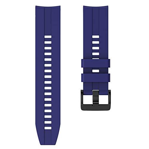 FAAGFC Correa de silicona deportiva de 22 mm para Huawei para Honor Magic Watch GT Active Strap para Samsung Galaxy Watch 46 mm Gear S3 (color de la correa: azul oscuro, ancho de la correa: 22 mm)