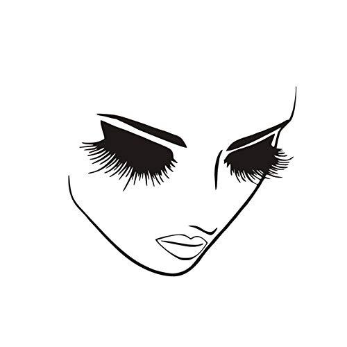 Zhenwo Beauty Salon Decor Lange Wimpern Vinyl Wandaufkleber Gesicht Mädchen Mit Wimpern Wimpern Wandtattoo Lash Bar Center Wall Poster 52X42 cm,Schwarz
