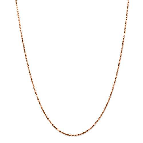 Diamond2deal 14K rosa oro 1.5mm corda catena collana 45,7cm