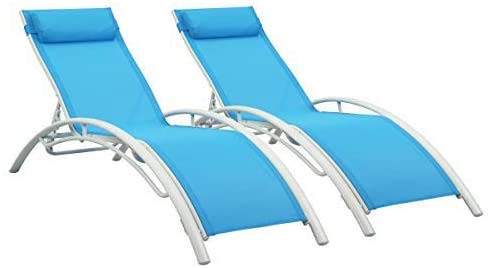 PROHIKER Chaise Lounge Terrace recliners with backrests and armrests, Outdoor recliners, Backyard Chairs, 2 Sets of Adjustable backrest Aluminum Frames (Blue)