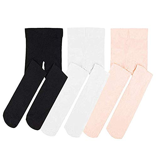 STELLE Ballet Dance Foot Tights for Girls Women Teens, Ultra Soft Convertible Tight (XXS, BK+WT+PK)