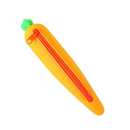 WeiMay Trousse à crayons en forme de carotte - Gel de silice - Papier à lettre - Trousse de maquillage