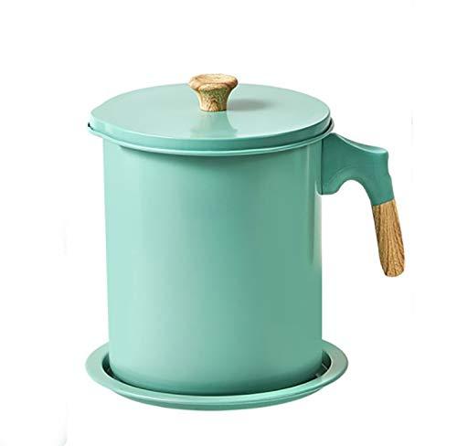 Efforts Recipiente de Grasa, Depósito de Grasa de Acero Inoxidable 304, Olla de Almacenamiento de Aceite con Colador de Malla Fina, Olla de Aceite para Freír para Cocinar o Freír Aceite (verde, 1.4L)