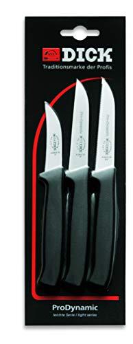 F. DICK Küchenmesser Set ProDynamic 3-tlg (je 1x Küchenmesser mit / ohne Wellenschliff, 1 Schälmesser) 85700042