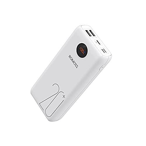 ROMOSS - Batería Externa para iPhone XS MAX, iPad Pro, Nintendo Switch, Samsung S8 y Otros Dispositivos Inteligentes (200 mAh, PD, 3 Salidas y 3 entradas)
