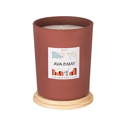 AVA & MAY May Duftkerze (180g) – vegane Kerze im Glas mit floralen Düften von Maiglöckchen, Myrrhe und Rose – Handgemachte Kerze mit Urlaubsfeeling