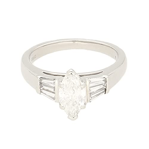 Anillo solitario de diamante de 1 quilates para mujer y 0,40 quilates (tamaño P 1/2) cabeza de 5 x 10 mm   anillo de lujo para mujer