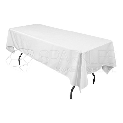 Sparkles Make It Special 10-pcs 60' x 102' Inch Rectangular Polyester Cloth Fabric Linen Tablecloth - Wedding Reception Restaurant Banquet Party - Machine Washable - Choice of Color - White