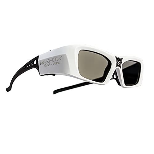 Hi-SHOCK DLP Pro 7G White Diamond DLP Link - Gafas 3D compatibles con proyector DLP 3D Acer, BenQ, Viewsonic, Optoma, LG [Edición Founders, 96 Hz, 100 Hz, 120 Hz, 144 Hz, batería DLP Link]