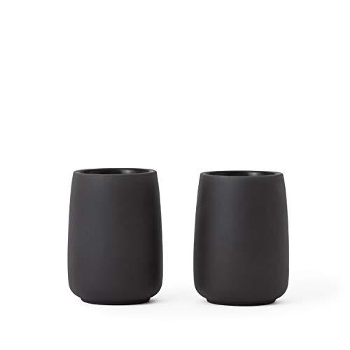 VIVA scandinavia Teetassen Porzellan 2er Set Schwarz : Design Tee oder Kaffee Becher, 0,165 L, geschirrspüler geeignet, matt anthrazit