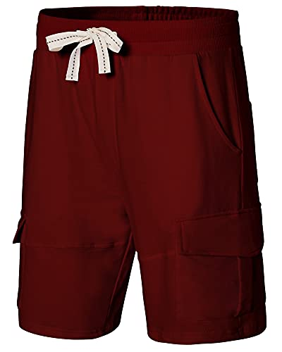 Vcansion Men's Cotton Drawstring Elastic Waist Workout Loose-fit Shorts with Pockets Wine Red US S