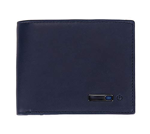YNSH Smart Anti-Lost Wallet Echtes Leder Kartenpaket Zip Geldbörse Inhaber mit Alarm Bluetooth Position Record (über Telefon GPS)-blue