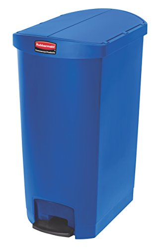 Rubbermaid Commercial Products Commercial Products 1883456 Slim Jim Front Step On - Cubo de basura con pedal (plástico), 68 L, azul, 1