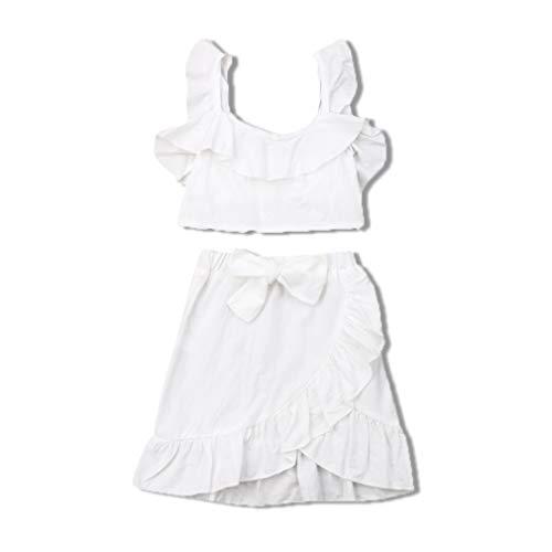 Gaono Branco Conjunto de 2 peças de roupas infantis para bebês meninas com ombros de fora e calça (100(1-2 Ano))