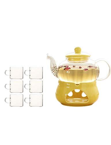 QIXIAOCYB Juego de té de cristal de borosilicato de alta calidad, con diseño de flores, para el hogar, té, té, té, base de cerámica (color: seis tazas)