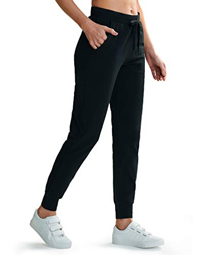 ZUTY Womens Lightweight Cotton Sweatpants Slim Fit Comfy Joggers Active Tapered Yoga Casual Lounge Pants with Pockets Black-Regular M
