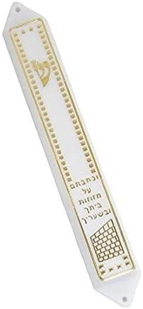 Judaica Place Plastic Mezuzah Las Vegas Mall Case White P Shin with Easy - Gold 2021 model