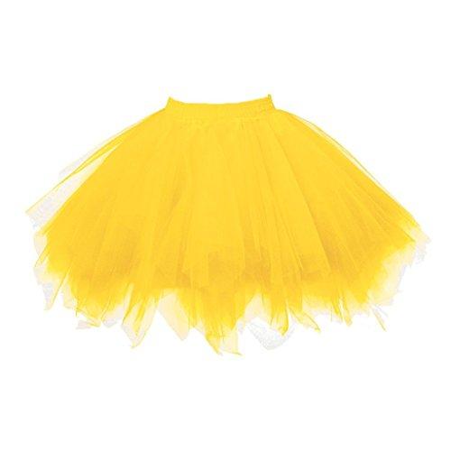 Big Girls Tutu Skirts Layered Tulle Princess Dresses Sparkle Yellow Tutu