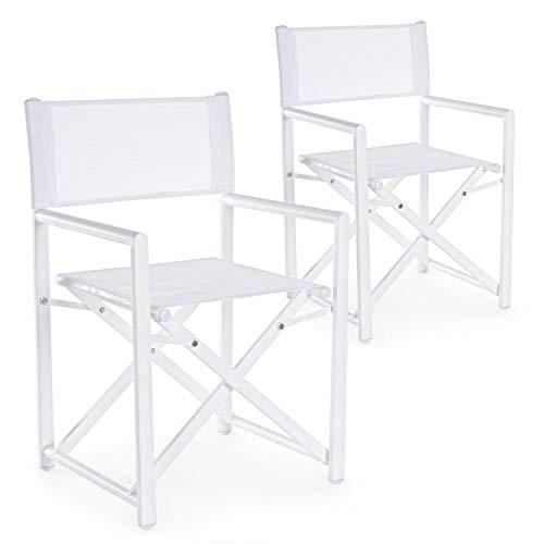 Set da 2 sedie regista in alluminio da giradino richiudibili, struttura in alluminio e textilene, coppia di poltrone, sedia regista da esterno (Bianco)