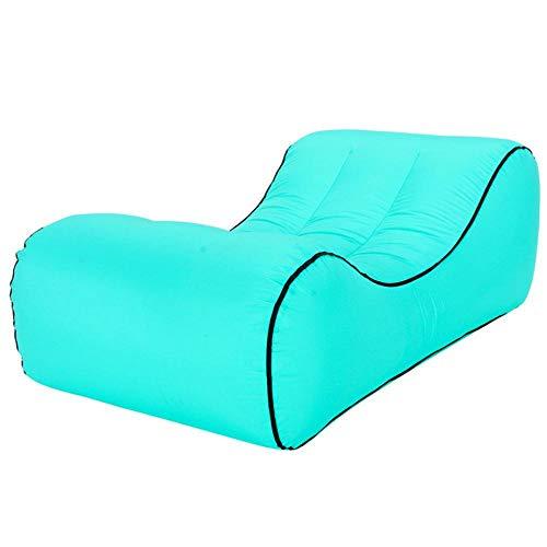 Cama de Aire portátil al Aire Libre Material a Prueba de desgarros de Nylon Inflable Perezoso del sofá-Verde_S
