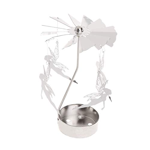 cuigu vela de té portavelas de té de metal Rotary Carrusel ciervo Holiday decoración, metal, Ange, 3.15inx5.12in