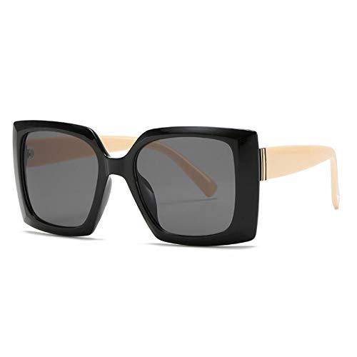 ZZOW Gafas De Sol Cuadradas De Gran Tamaño A La Moda para Mujer, Gafas De Sol Vintage Grises con Degradado para Hombre, Sombras Uv400