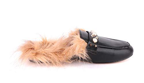 Damen Pantalotte Mules Stilletos Pumps Sabot Sandalette Clogs Slipper Pelz Rund, Farbe:Schwarz, Schuhgröße:EUR 40