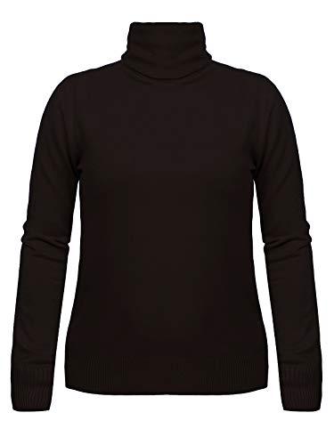 Fashion4Young 11511 Damen Feinstrick-Pullover Pulli Rollkragen Pullover Strickpullover (schwarz, L/XL=38/40)