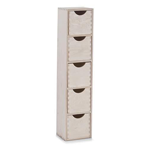 Zeller 13190 Cassettiera con 5 cassetti in legno di betulla, 13 x 12 x 58 cm