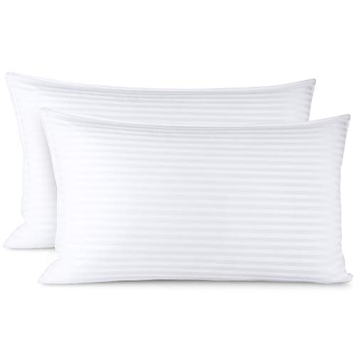 Clara Clark Bed Pillows for Sleeping | Down Alternative Sleep Pillows King Size Set of 2 | 100% Cotton Pillow Covers with Poly Fiber Filling | Soft Pillow for Sleeping