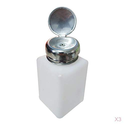 SM SunniMix 3x Flacons Distributeurs à Pompe 200 Ml pour Vernis à Ongles, Démaquillant, Manucure, Bouteille en Verre Rechargeables
