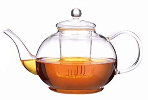 Teekanne Glaskanne 2200 ml Fassungsvermögen - groß, schön, modern - hochwertiges, leichtes Borosilikatglas
