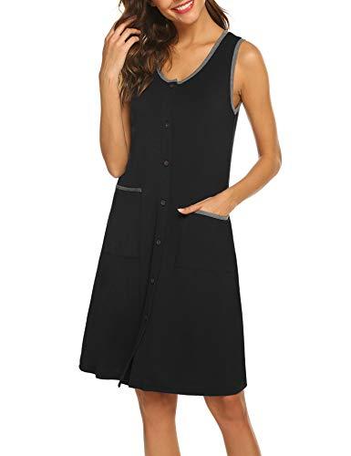 Ekouaer Loungewear for Women Summer Nightgown Sleeveless Housecoats Short Sleepwear with Pockets (Black,XL)