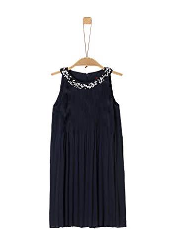 s.Oliver Mädchen Plissee-Kleid mit Perlenkragen Dark Blue 98.REG