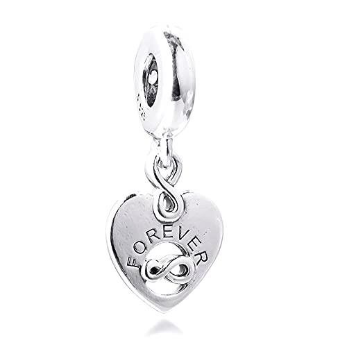 BAKCCI 2021 regalo del día de San Valentín Amigos Forever corazón colgante perla plata 925 DIY se adapta a pulseras originales Pandora encanto joyería de moda