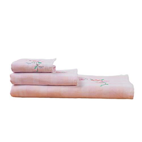 WCN Toallas Baño Set Toallas de Secado Rápido de Las Toallas de Baño Toallitas Resistente a la Decoloración de la Yoga de Algodón Toallas Home SPA (Paquete de 2) Textiles de Baño (Color : Pink)