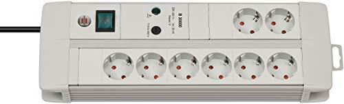 Brennenstuhl 1256550378 Regleta enchufes Premium-Line con protección contra subidas de tensión, 230 V, Gris