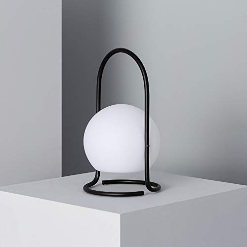 LEDKIA LIGHTING Lámpara de Mesa LED Portátil Mkono 2.5W para Exterior con Batería USB Recargable Ø170x300mm Negro Polietileno Decoración Salón, Habitación, Dormitorio