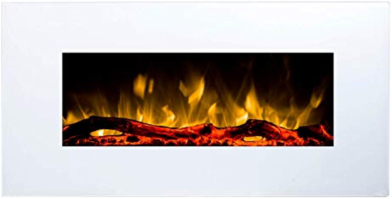 Glow Fire Elektrokamin mit Heizung, Wandkamin mit LED  zuschaltbarer Heizlüfter mit 750 oder 1500 W  Fernbedienung (Gre S - 84 cm, Wei)