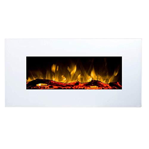 GLOW FIRE Elektrokamin mit Heizung, Wandkamin mit LED | Künstliches Feuer mit zuschaltbarem Heizlüfter: 750/1500 W | Fernbedienung (Größe M - 110 cm, Weiß)