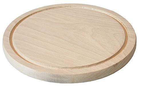 EFO Rundes Schneidebrett - Holzbrett - Holzunterlage - Schneidebrett Holz - Hackbrett - Servierbrett - Brett aus Buchenholz Durchmesser 20 cm