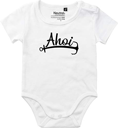 Kleckerliese Body vintage pour bébé garçon avec motif AHOI Anker mer Heimat - Blanc - 6 mois