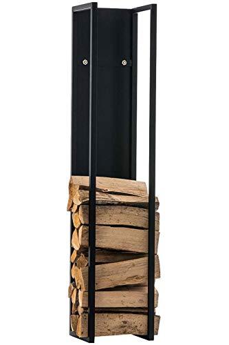 CLP Kaminholzregal Spark I Brennholzregal aus Edelstahl I Holzbutler in verschiedenen Größen und Farben erhältlich, Farbe:schwarz-matt, Größe:120 cm