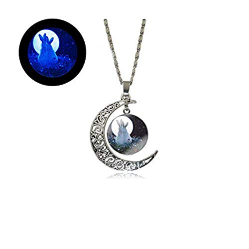 Laco/1925 Glow Full Moon Necklace Bunny Necklace I Love You to The Moon and Back Secret Message Rabbit Glowing Jewelry Gifts for Her Moms Mothers Girls Women