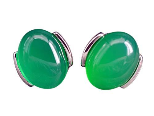 NicoWerk Damen Silber Ohrstecker Achat aus 925 Sterling Silber Oval Grün mit Stein Edelstein SOS269
